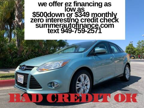 2012 Ford Focus for sale at SUMMER AUTO FINANCE in Costa Mesa CA