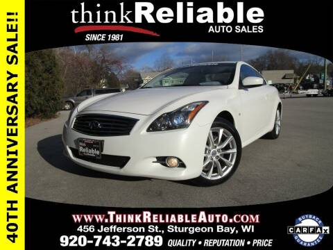 2014 Infiniti Q60 Coupe for sale at RELIABLE AUTOMOBILE SALES, INC in Sturgeon Bay WI