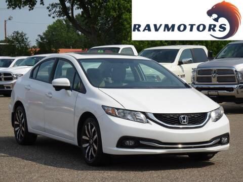 2015 Honda Civic for sale at RAVMOTORS in Burnsville MN