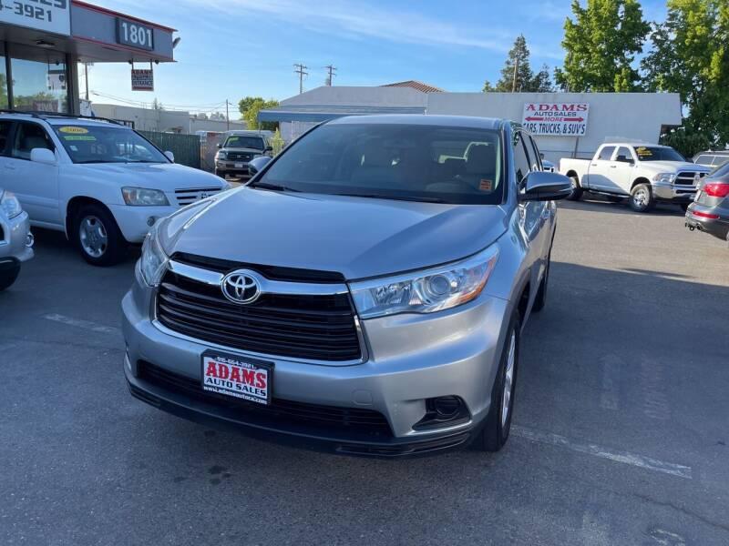 2016 Toyota Highlander for sale at Adams Auto Sales in Sacramento CA