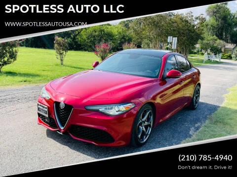 2017 Alfa Romeo Giulia for sale at SPOTLESS AUTO LLC in San Antonio TX
