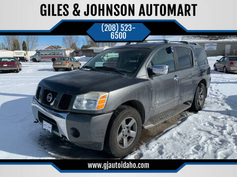 2005 Nissan Armada for sale at GILES & JOHNSON AUTOMART in Idaho Falls ID
