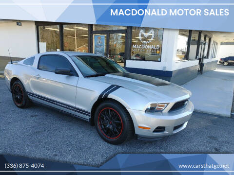 2010 Ford Mustang for sale at MacDonald Motor Sales in High Point NC