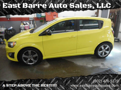 2016 Chevrolet Sonic for sale at East Barre Auto Sales, LLC in East Barre VT