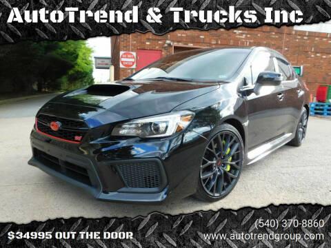 2019 Subaru WRX for sale at AutoTrend & Trucks Inc in Fredericksburg VA
