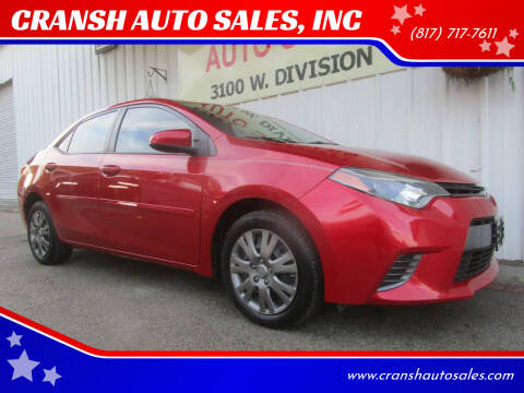 2016 Toyota Corolla for sale at CRANSH AUTO SALES, INC in Arlington TX