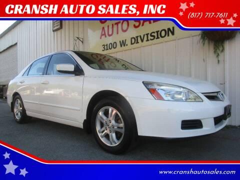 2007 Honda Accord for sale at CRANSH AUTO SALES, INC in Arlington TX