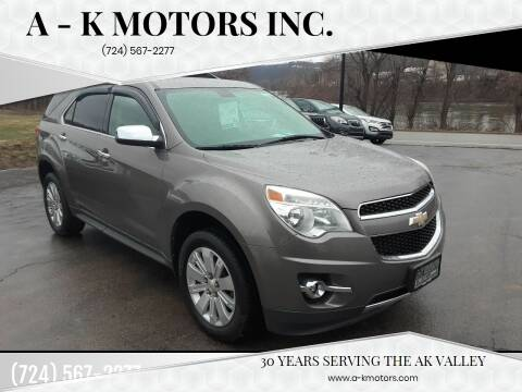 2011 Chevrolet Equinox for sale at A - K Motors Inc. in Vandergrift PA