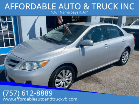 2012 Toyota Corolla for sale at AFFORDABLE AUTO & TRUCK INC in Virginia Beach VA