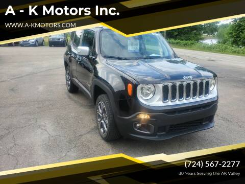 2018 Jeep Renegade for sale at A - K Motors Inc. in Vandergrift PA