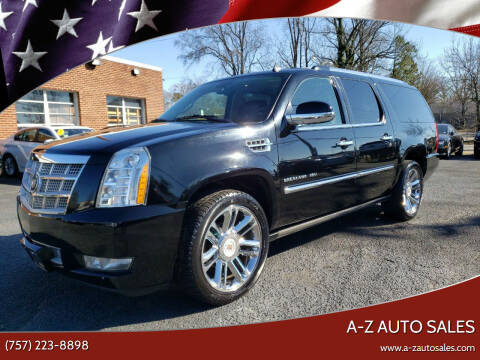 2012 Cadillac Escalade ESV for sale at A-Z Auto Sales in Newport News VA