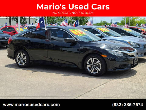 2016 Honda Civic for sale at Mario's Used Cars in Houston TX