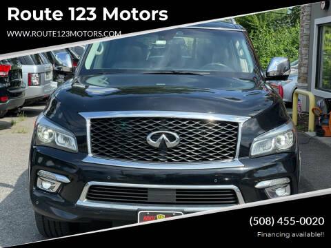 2015 Infiniti QX80 for sale at Route 123 Motors in Norton MA