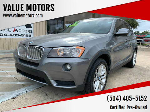 2013 BMW X3 for sale at VALUE MOTORS in Kenner LA