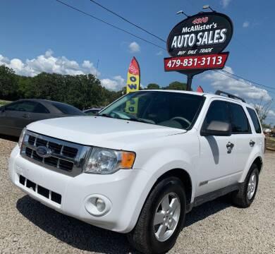 2008 Ford Escape for sale at McAllister's Auto Sales LLC in Van Buren AR