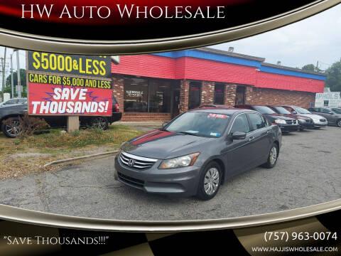 2012 Honda Accord for sale at HW Auto Wholesale in Norfolk VA
