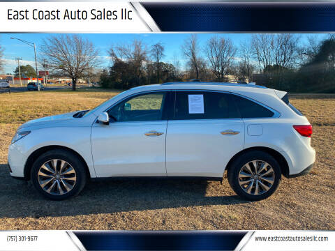 2014 Acura MDX for sale at East Coast Auto Sales llc in Virginia Beach VA
