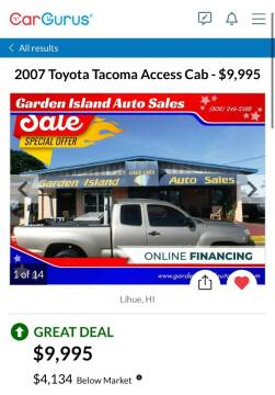 2007 Toyota Tacoma for sale at Garden Island Auto Sales in Lihue HI