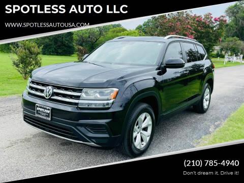 2018 Volkswagen Atlas for sale at SPOTLESS AUTO LLC in San Antonio TX