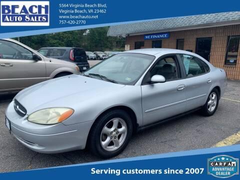 2002 Ford Taurus for sale at Beach Auto Sales in Virginia Beach VA
