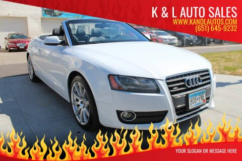 2012 Audi A5 for sale at K & L Auto Sales in Saint Paul MN