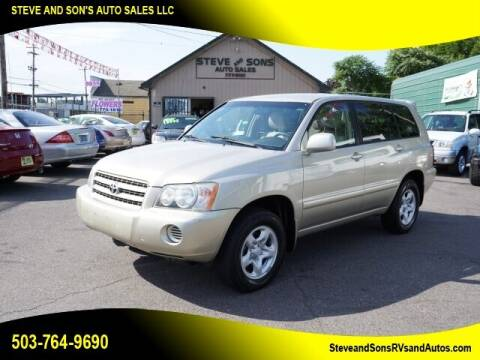 2002 Toyota Highlander for sale at Steve & Sons Auto Sales in Happy Valley OR