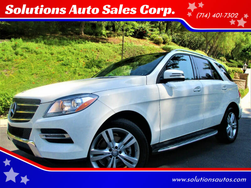 2013 Mercedes-Benz M-Class for sale at Solutions Auto Sales Corp. in Orange CA
