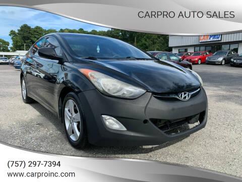 2013 Hyundai Elantra for sale at Carpro Auto Sales in Chesapeake VA