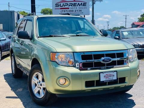 2008 Ford Escape Hybrid for sale at Supreme Auto Sales in Chesapeake VA