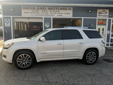 2014 GMC Acadia for sale at Richland Motors in Cleveland OH