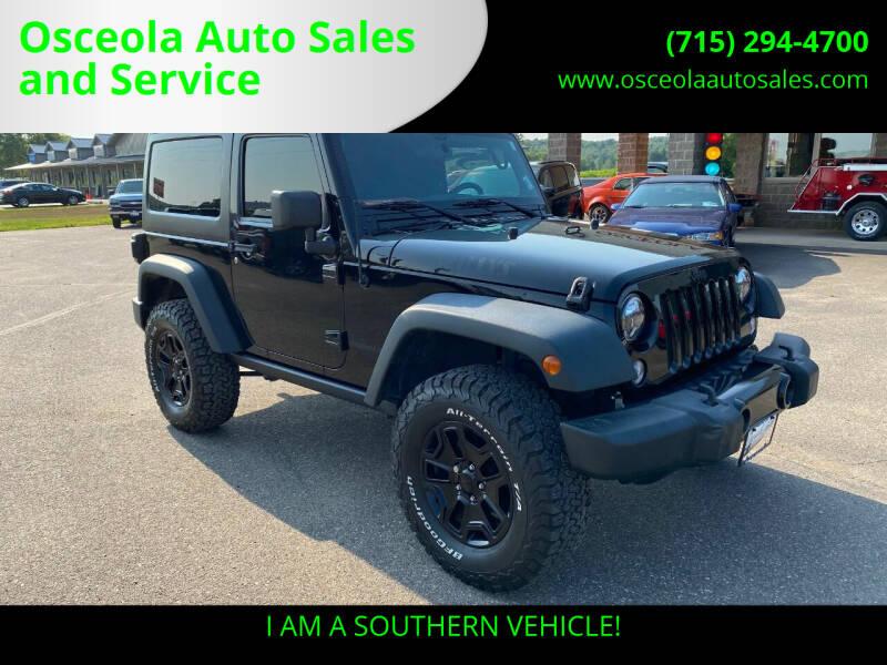 2015 Jeep Wrangler for sale at Osceola Auto Sales and Service in Osceola WI