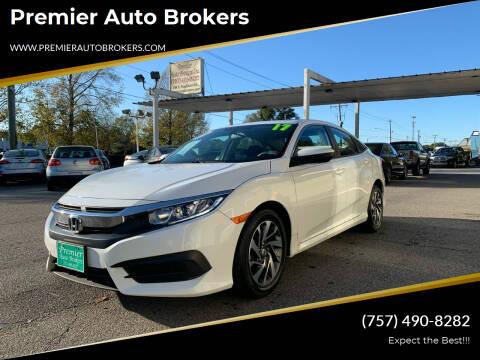 2017 Honda Civic for sale at Premier Auto Brokers in Virginia Beach VA