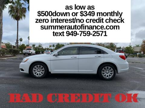 2012 Chrysler 200 for sale at SUMMER AUTO FINANCE in Costa Mesa CA