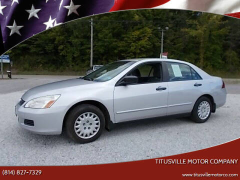 2007 Honda Accord for sale at Titusville Motor Company in Titusville PA
