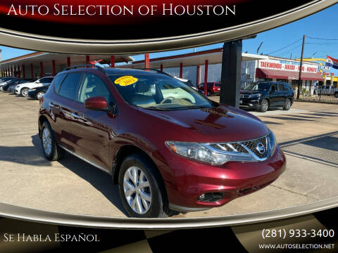 2012 Nissan Murano for sale at Auto Selection of Houston in Houston TX
