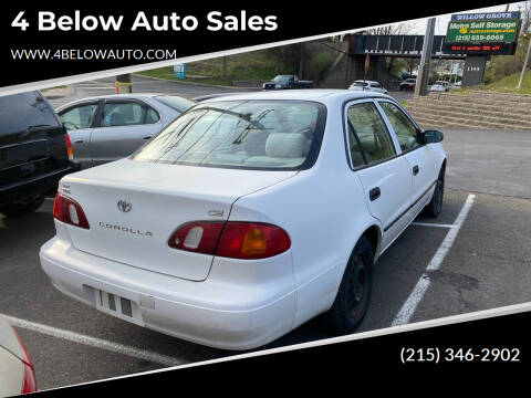 1999 Toyota Corolla for sale at 4 Below Auto Sales in Willow Grove PA