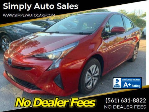 2017 Toyota Prius for sale at Simply Auto Sales in Palm Beach Gardens FL