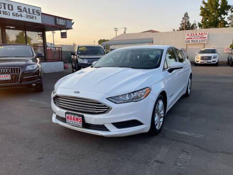 2018 Ford Fusion Hybrid for sale at Adams Auto Sales in Sacramento CA