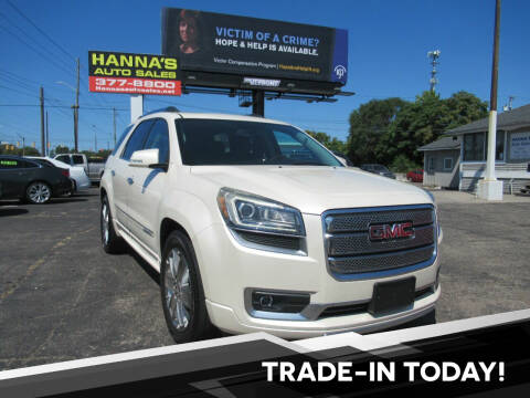 2013 GMC Acadia for sale at Hanna's Auto Sales in Indianapolis IN