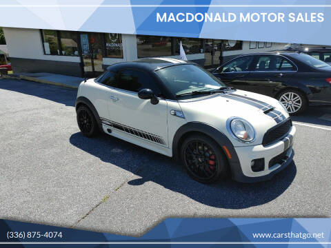 2012 MINI Cooper Coupe for sale at MacDonald Motor Sales in High Point NC