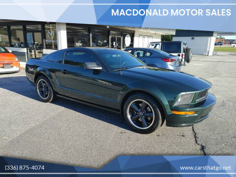 2008 Ford Mustang for sale at MacDonald Motor Sales in High Point NC