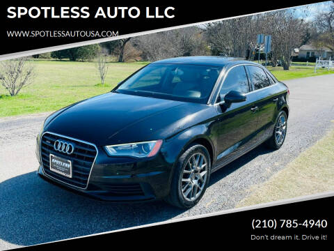 2015 Audi A3 for sale at SPOTLESS AUTO LLC in San Antonio TX