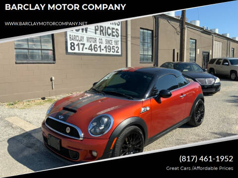 2013 MINI Coupe for sale at BARCLAY MOTOR COMPANY in Arlington TX