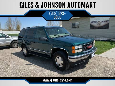 1997 GMC Yukon for sale at GILES & JOHNSON AUTOMART in Idaho Falls ID