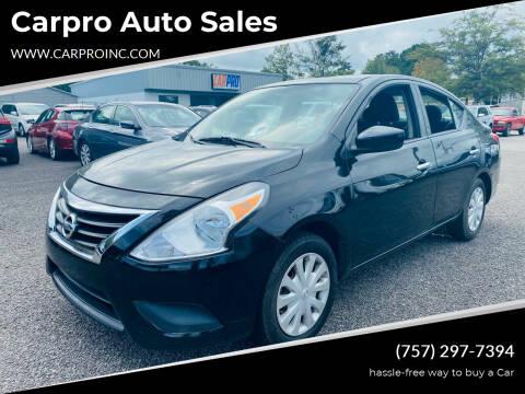 2016 Nissan Versa for sale at Carpro Auto Sales in Chesapeake VA