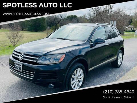 2013 Volkswagen Touareg for sale at SPOTLESS AUTO LLC in San Antonio TX