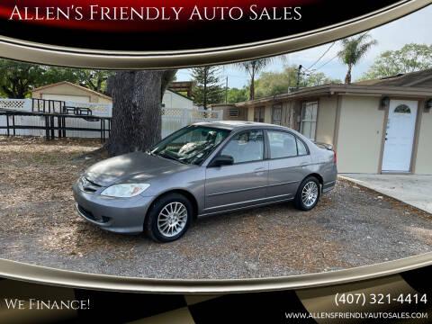 2005 Honda Civic for sale at Allen's Friendly Auto Sales in Sanford FL