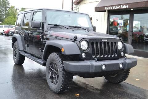 2017 Jeep Wrangler Unlimited for sale at Nick's Motor Sales LLC in Kalkaska MI