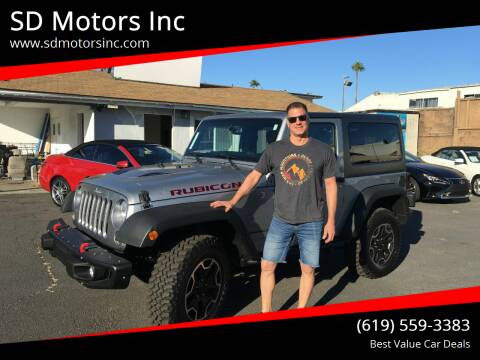 2015 Jeep Wrangler for sale at SD Motors Inc in La Mesa CA