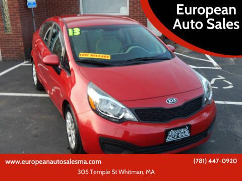 2013 Kia Rio for sale at European Auto Sales in Whitman MA